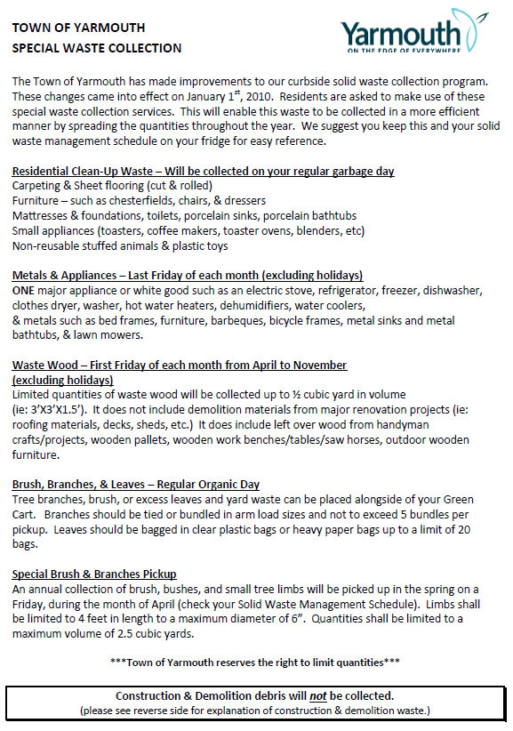 Waste Check: Town of Yarmouth Calendar